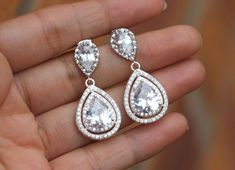 clear bridal jewelry zirconia wedding earring by arbjewelry
