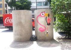 Graffiti Flamingo - Rafa - Rio de Janeiro - Brasil