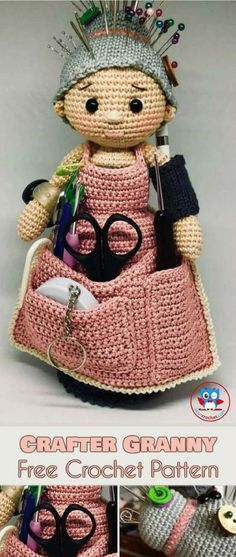 Crochet Dolls Crafter Granny [Free Crochet Pattern] The Amigurami Granny Doll is everything you need for organizing your craft tools. It is a scissors pocket, pin cushion and hook divider all in one. plus it has a bunch more useful nooks and crannies. Crochet Gratis, Crochet Amigurumi, Cute Crochet, Amigurumi Patterns, Amigurumi Doll, Crochet Dolls, Knitting Patterns, Knit Crochet, Crochet Patterns