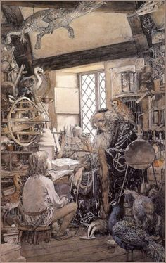 """The Sword In The Stone"" by Alan Lee.  Merlin and the child Arthur."