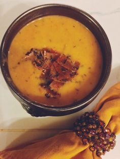 Creamy {coconut milk} parsnip & pumpkin soup with thyme-crusted prosciutto // the sparkle kitchen