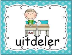 Klastaken: uitdeler. Polka dot © Sarah Verhoeven Primary School, Polka Dots, Classroom, Poster, Character, Inspiration, Calendar, Class Room, Biblical Inspiration