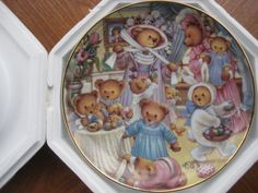 Carol Lawson Teddy Bear Egg-citement Franklin Mint Easter Collectors Plate 3 Bears, Teddy Bears, Franklin Mint, The Collector, Toddler Bed, Egg, Easter, Plates, Home Decor