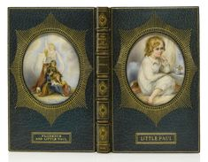 "Dickens, Charles The Story of Little Dombey. London: Bradbury & Evans, 1858 In 8s (6 7/8 x 4 3/8 in.; 175 x 111 mm). Half-title, terminal leaf of advertisements.An early and highly emblematic Cosway binding with a large miniature on ivory by Miss C. B. Currie on each cover. Crushed blue morocco, the front cover with an inset portrait, gilt-titled ""Little Paul,"""