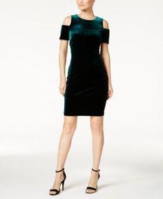 Calvin Klein Petite Velvet Cold-Shoulder Dress - Green 12P