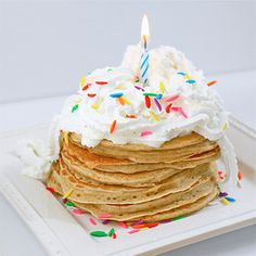 Wouldn't this be perfect for kids birthday breakfast Pancakes, pancakes, pancakes. Buttermilk Pancakes, Breakfast Pancakes, Pancakes And Waffles, Breakfast Recipes, Dessert Recipes, Desserts, Birthday Pancakes, Birthday Breakfast, Yummy Treats
