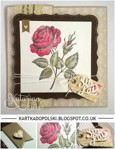 138 With rose #diy #craft #card #craftyejoyments #honeydoocrafts #stampinup #earlyespresso #saharasand