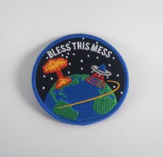 Bless This Mess Patch · Explorer's Press Cute Patches, Pin And Patches, Iron On Patches, Jacket Patches, Sunshine In My Pocket, Nerd Fashion, Fabric Patch, Cool Pins, Embroidery Patches