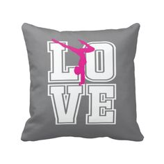 If you LOVE gymnastics, this pillow is perfect for you!  You can choose ANY of the colors from our palette for the background, letters and silhouette or order it in the Charcoal, Hot Pink and White color combo shown. This custom accent pillow is the perfect bedroom decor for any girl or teen gymnast.