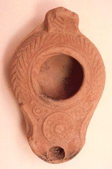 Late Roman/Byzantine Oil Lamp - L.0101 Origin: Geresa, Jordan Circa: 300 AD to 500 AD   Catalogue: V1 Collection: Byzantine Medium: Terracotta
