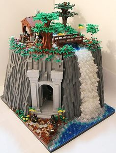 LEGO Waterfall-would be awesome to make the tunnel large enough for a train to go thru!