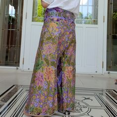 Night Pants Unisex Pants Thai Fisherman Pants in Cotton Batik Hand Printed and dyed in Green Lounge-wear Casual Wrap Pants