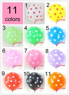 Wholesale of 50pcs, 12 Colors 12 Inch Latex Polk Dot Balloons, Quality Balloon, Wedding/Birthday Party Decoration $8,92
