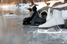 frozen lake and skates