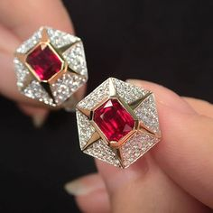 An unique and handsome pair of  Cufflinks for men with Emerald Cut Pigeon Blood Burmese Ruby.  Very elegant