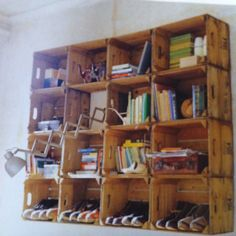 Wooden fruit crates.  I know just where I can get some.