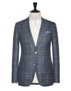 Green-Blue wool-silk-linen melange with Light Blue windowpane. Code: 8401