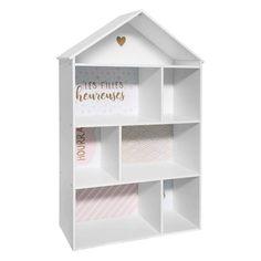 Házikó alakú könyvespolc, fehér-rózsaszín - MABIBLI - ❤️ Időtálló design, kedvező áron ❤️ Butopêa Etagere Cube, Lockers, Locker Storage, Cabinet, Kids, House, Furniture, Dimensions, Home Decor
