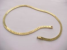 """I'm auctioning '16""""gold plated fancy link  herringbone necklace' on #tophatter"""