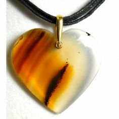 Montana agate heart pendant necklace by Zewei Willa O'Connor
