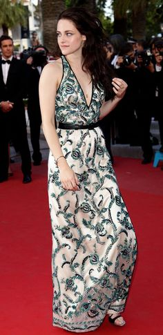 In a Balenciaga dress and sandals with Cartier jewelry at the 'On the Road' premiere at the Cannes Film Festival; May 23