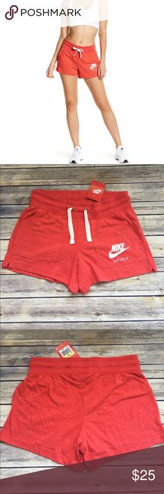 "NWT Nike gym shorts New with tags Nike gym cotton shorts. Inseam measures approximately 3.25"".  60% certified organically grown cotton, 40% recycled polyester.  Super soft and comfy with drawstring waist.  Pet/smoke free home. Nike Shorts"