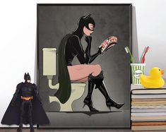 Batman and Catwoman in the bath Poster set. Bathroom Restroom Poster Wall Art Hanging Print Home Décor Humour Batman Bathroom, Bathroom Wall Art, Wall Art Sets, Hanging Wall Art, Spiderman Comic Books, Uk People, Batman Poster, Batman And Catwoman, Book Wall