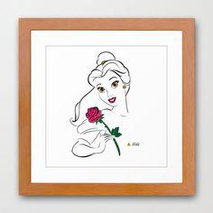 Disney Princess Belle Minimalist Art 12x12-Professional Metallic Print - Disneys Beauty and the Beast  Home Decor, Enchanted Rose. $21.50, via Etsy.