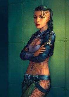 Jack from Mass Effect Mass Effect Jack, Mass Effect Characters, Sci Fi Characters, Cyberpunk Character, Cyberpunk Art, Mass Effect Universe, Sr1, Science Fiction Art, Shadowrun