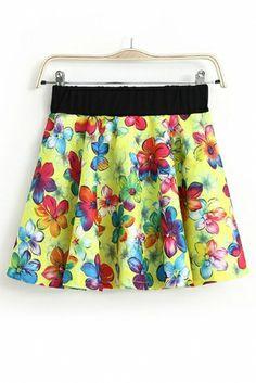 Flower Print Elastic Waist Skirt