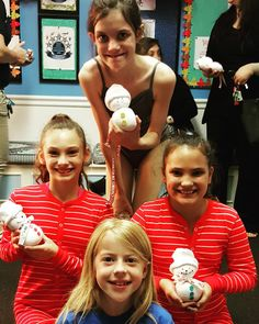 Great #parentsnightout at #colbycenterfordance last night! Here's a few of the dancers with their handmade snowmen! #holidayfun #tistheseason #dancebuddies
