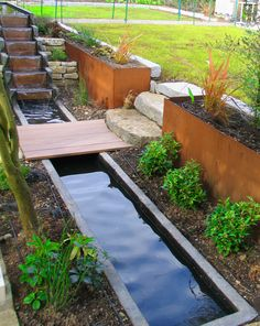 Multi-level ponds with water cascade feature
