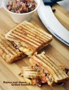 Rajma and Cheese Grilled Sandwich recipe Veg Recipes, Diabetic Recipes, Indian Food Recipes, Snack Recipes, Cooking Recipes, Healthy Recipes, Starter Recipes, Indian Snacks, Noodle Recipes