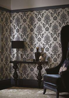 Los papeles pintados en blanco y negro más sorprendentes - https://decoracion2.com/los-papeles-pintados-en-blanco-y-negro/ #Decoración_En_Blanco_Y_Negro, #Papel_Pintado, #Revestimientos_Para_Paredes