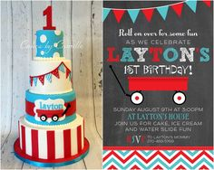 Layton's Little Red Wagon First Birthday Bash | CatchMyParty.com