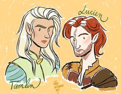 Tamlin and Lucien from (A Court of Thorns and Roses by Sarah J. Maas) // drawn by Lily Williams @lwbean