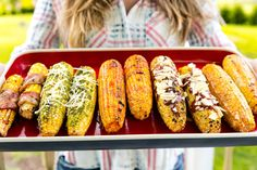 We've got six magical ways to top grilled corn—and bacon-wrapped isn't even the best one. Get the recipe from Delish. Easy Fourth Of July Recipe, Fourth Of July Food, Grilling Recipes, Cooking Recipes, Grilling Tips, Grill Meals, Bbq Tips, Meat Meals, Crockpot Meals