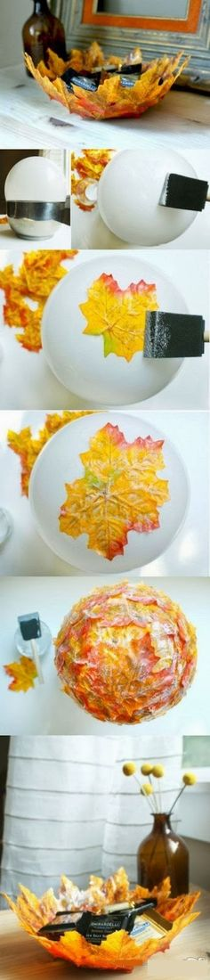 very pretty idea.  http://3.bp.blogspot.com/-dM4s8387hsg/Uo-LtZVbbXI/AAAAAAAAbRY/tay7ze3VQE0/s1600/Home+Craft+Leaf+Bowl+autumn.jpg