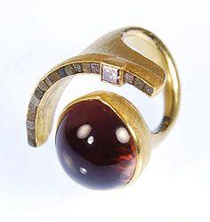 Patina Gallery Atelier Zobel Peter Schmid MZ-1-0263 Ring 18k Gold, Tourmaline Munsteiner 26.38 carats, Princess Cut Brown Diamond 0.29 carats, Rough Diamond 1.59 carats