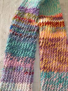 Loom knit scrappy scarf