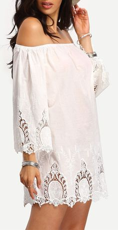 Beige Off The Shoulder Bell Sleeve Crochet Dress. Fantastic mini dress for a summer party, lovely dress for a beach travel and also fashion for a street style. You will fall in love with the crochet lace trim.