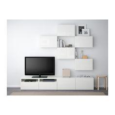 BESTÅ TV úložná kombinácia - bielo morený dubový vzor /Selsviken vysoký lesk/biela, jazdec zásuvky, jemné zatváranie - IKEA