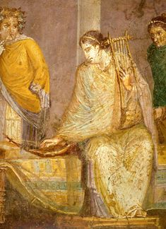 A musician tunes a small harp with her right hand, while holding a cithara in her left. Detail of a fresco in the Third Style from Pompeii; now in the National Archaeological Museum, Naples. Ancient Music, Ancient Art, Ancient History, Ancient Pompeii, Pompeii And Herculaneum, Roman History, Art History, Pompeii Paintings, Carthage