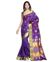 Buy Blue woven art silk saree with blouse kanchipuram-silk-saree online