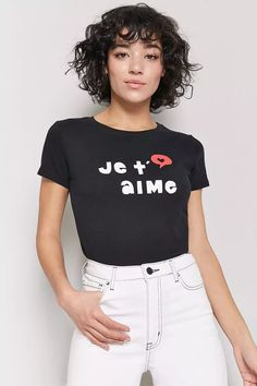 Product Name:Je T'aime Graphic Tee, Category:top_blouses, Price:10.9