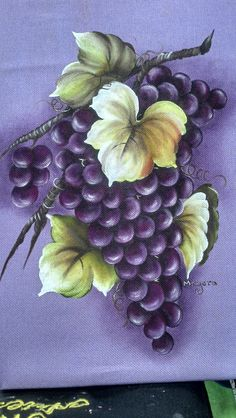 Rypäleet Grape Painting, Fruit Painting, One Stroke Painting, China Painting, Tole Painting, Fabric Painting, Painting & Drawing, Fruit Art, Paint Designs