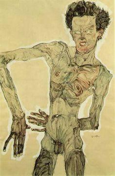 Egon Schiele - Nude Self- portrait, Grimacing, 1910 - Graphische Sammlung Museum, Vienna