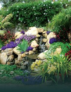 Santa Barbara landscape design water features waterfalls fountains ponds patios