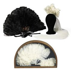 A GROUP OF OSTRICH FEATHER FANS AND A PRESENTATION HEADDRESS    Christies Auction