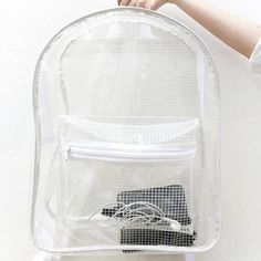 Clear Backpack Transparent Rucksack White Grid by pingypearshop Clear Backpacks, Cute Backpacks, School Backpacks, Tote Purse, Backpack Bags, Leather Backpack, News Fashion, Fashion Bags, Women's Fashion